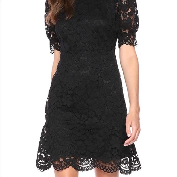 women's • lace puff sleeve dress • black • sz 4